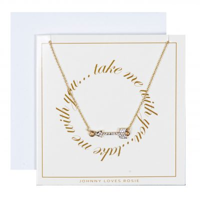 Johnny Loves Rosie Dam Take Me With You Arrow Necklace Gift Card Basmetall JLR-GCARD-TMWY