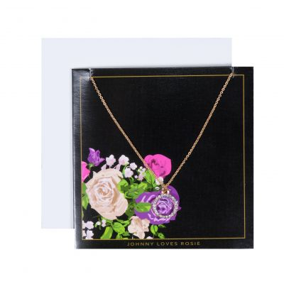 Ladies Johnny Loves Rosie Base metal Circle Pendant Floral Gift Card JLR-GCARD-FLORAL
