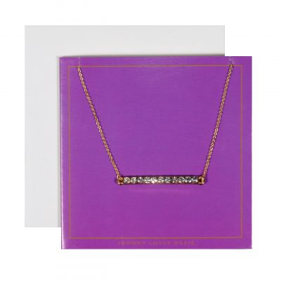 Ladies Johnny Loves Rosie Base metal Bar Necklace Purple Gift Card JLR-GCARD-PURP
