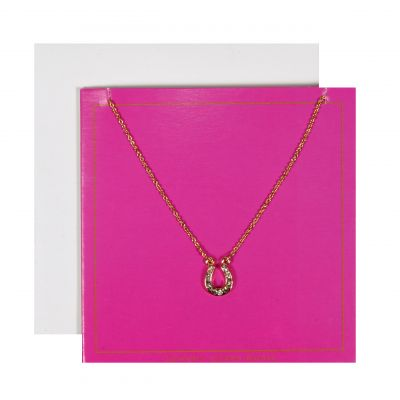 Ladies Johnny Loves Rosie Base metal Horseshoe Pink Gift Card JLR-GCARD-PINK