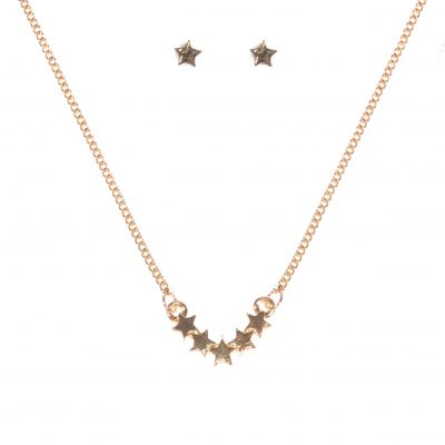 Johnny Loves Rosie Dames Star Earring Necklace Gift Set Basismetaal JLR-PYRAMID-STAR