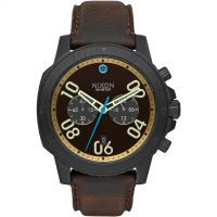 Mens Nixon The Ranger Leather Chronograph Watch A940-2209