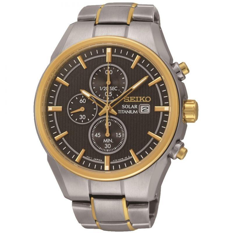Mens Seiko Titanium Chronograph Solar Powered Watch