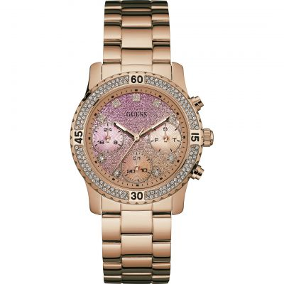 GUESS Ladies rose gold bracelet watch with crystal detailing