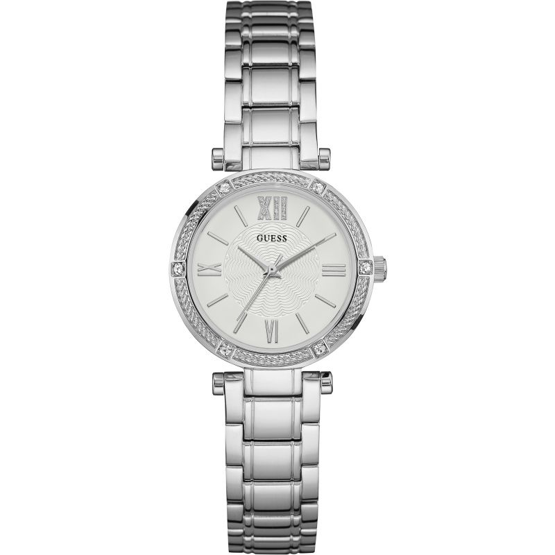 GUESS Ladies watch with a silver bracelet and a white dial