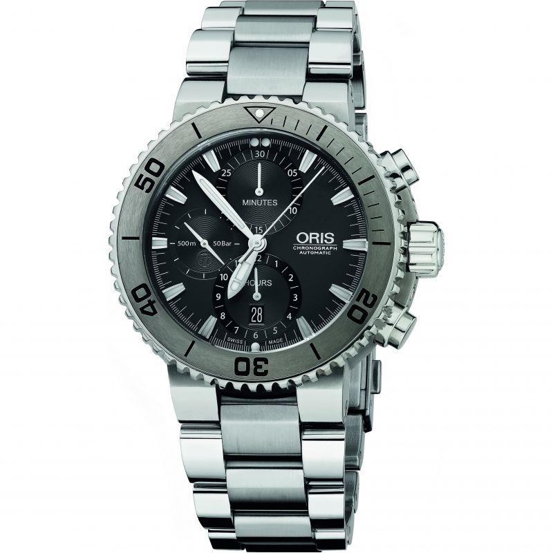 Mens Oris Aquis Titan Titanium Automatic Chronograph Watch