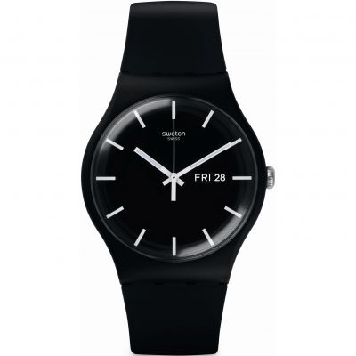 Swatch Originals New Gent MONO BLACK Unisexuhr in Schwarz SUOB720