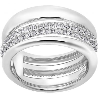 Ladies Swarovski Rhodium Plated Size Q Exact Ring 58 5221571