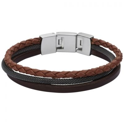 Fossil Heren Leather Bracelet Roestvrijstaal JF02213040