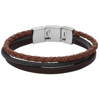 Gioielli da Uomo Fossil Jewellery Leather Bracelet JF02213040