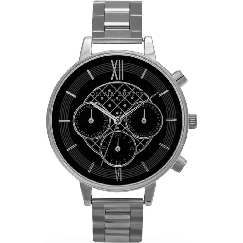 Chrono Detail Black  & Silver Watch