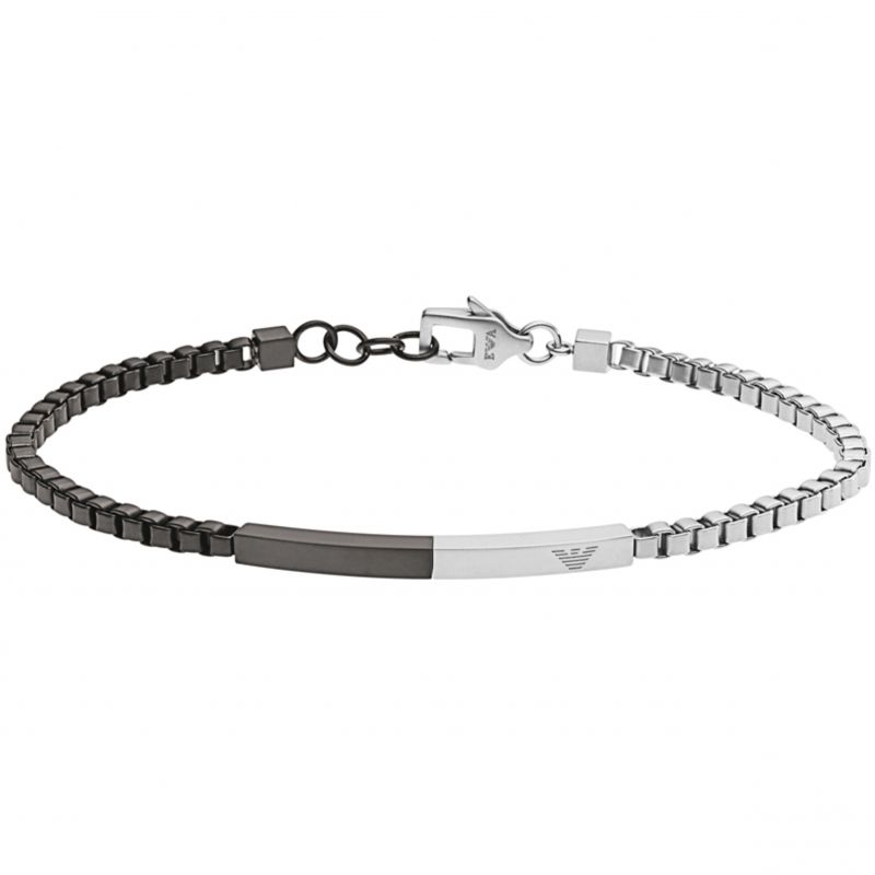 Ladies Emporio Armani Black Ion-plated Steel Composition Bracelet EGS2124040