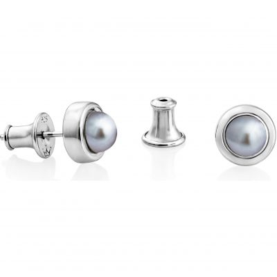Jersey Pearl Dames Alice Grey Freshwater Pearl Stud Earrings Sterling Zilver A01SSES