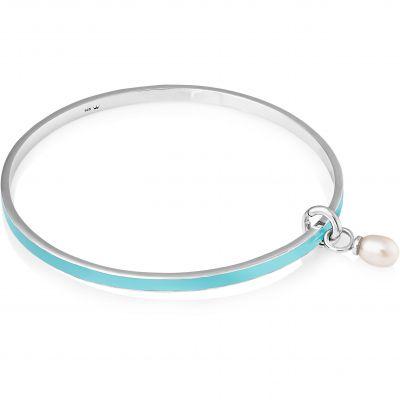 Jersey Pearl Dames Viva Freshwater Pearl Light Blue Bangle Sterling Zilver VIVABLB