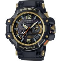 Mens Casio G-Shock Premium Gravitymaster Black x Gold Alarm Chronograph Radio Controlled Watch GPW-1000GB-1AER