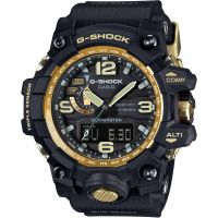 Mens Casio G-Shock Premium Mudmaster Compass Black x Gold Alarm Chronograph Radio Controlled Watch