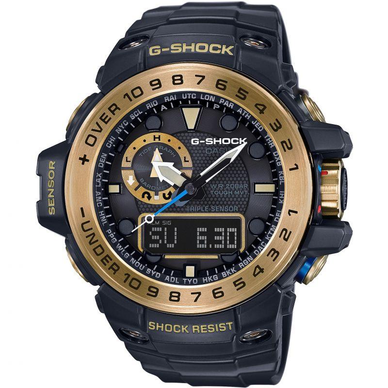 Mens Casio G-Shock Premium Gulfmaster Black x Gold Alarm Chronograph Radio Controlled Watch