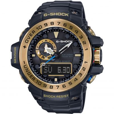 Mens Casio G-Shock Premium Gulfmaster Black x Gold Alarm Chronograph Radio Controlled Watch GWN-1000GB-1AER