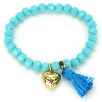 Damen Juicy Couture Heart & Tassel Beaded Armband PVD vergoldet GJW35-422