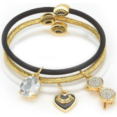 Ladies Juicy Couture PVD Gold plated Charmy Elastics Hair Elastics WJW750-711
