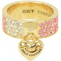Ladies Juicy Couture PVD Gold plated Size L.5 Iconic Gradient Pave Heart Ring WJW732-654-6
