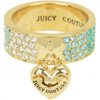 Ladies Juicy Couture PVD Gold plated Size L.5 Iconic Gradient Pave Heart Ring WJW732-422-6