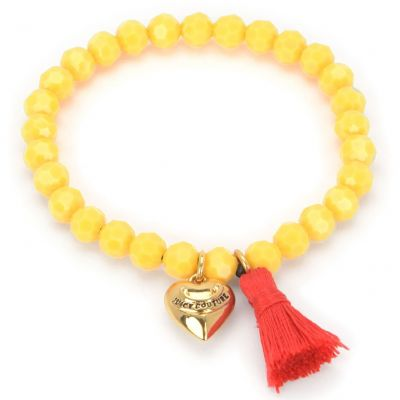Juicy Couture Dam Heart & Tassel Beaded Bracelet PVD guldpläterad GJW35-735