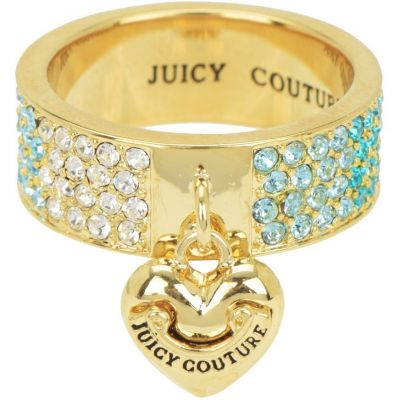Juicy Couture Dames Iconic Gradient Pave Heart Ring PVD verguld Goud WJW732-422-8