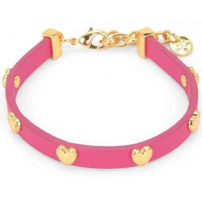 Damen Juicy Couture Layered In Couture Heart Leather Armband PVD vergoldet WJW734-654