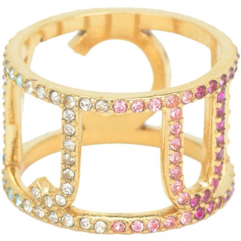 Ladies Juicy Couture PVD Gold plated Size P Iconic Juicy Rainbow Ring WJW731-710