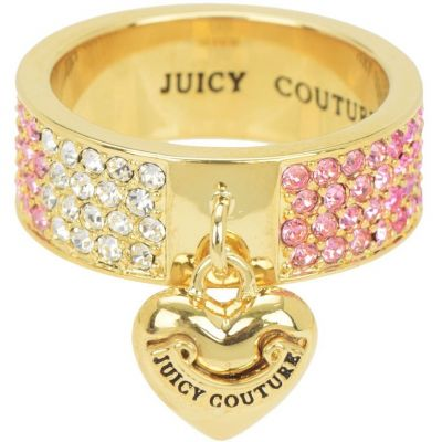 Ladies Juicy Couture PVD Gold plated Size P Iconic Gradient Pave Heart Ring WJW732-654-8