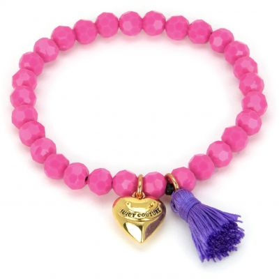 Ladies Juicy Couture PVD Gold plated Heart & Tassel Beaded Bracelet GJW35-673