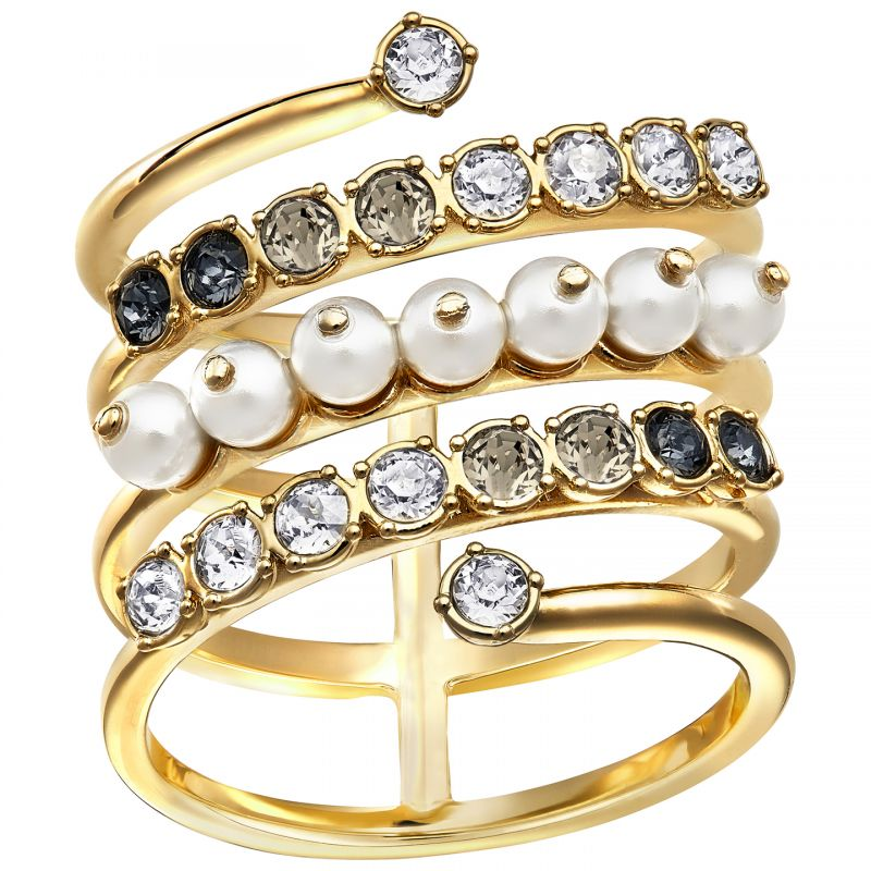 Ladies Swarovski PVD Gold plated EAST RING SIZE P/Q 5221444