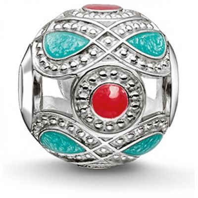 Thomas Sabo Dames Karma Beads Turquoise And Red Ethnic Bead Sterling Zilver K0210-664-7