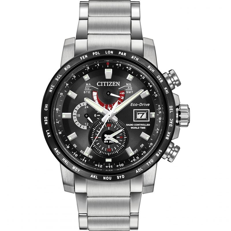Mens Citizen World Time A-T Alarm Radio Controlled Watch