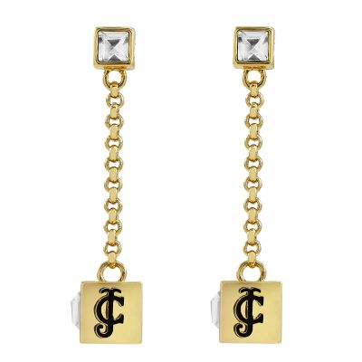 Ladies Juicy Couture PVD Gold plated ICONIC CUBES EARRINGS WJW795-710
