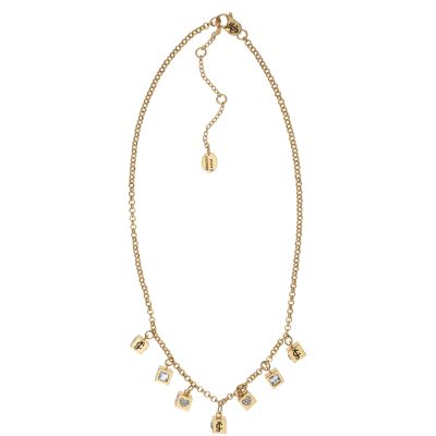 Ladies Juicy Couture PVD Gold plated ICONIC CUBES NECKLACE WJW779-710-U