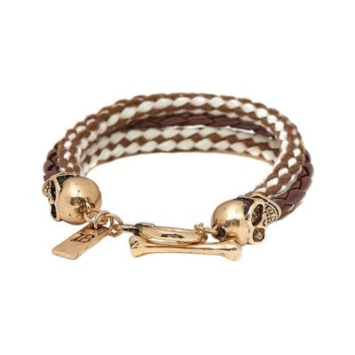 Icon Brand Base metal Band Of Skulls Bracelet LE1123-BR-BRN