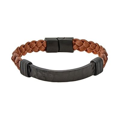 Icon Brand Unisex Braided Bunch Bracelet Basmetall LE1124-BR-TAN