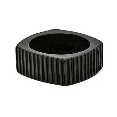 Icon Brand Unisex Time Squared Ring Basmetall P1062-R-BLK-MED