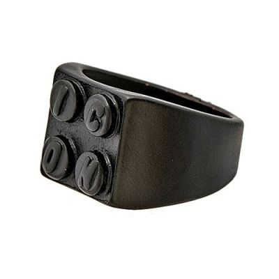 Icon Brand Unisex Building Block Ring Basmetall P1067-R-BLK-MED