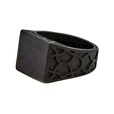 Icon Brand Unisex Centre Stage Ring Basmetall P1069-R-BLK-LGE