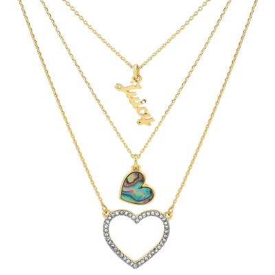 Damen Juicy Couture Mother Of Pearl Heart Double Strand Halskette vergoldet WJW862-710-U