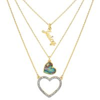 Ladies Juicy Couture Gold Plated Mother Of Pearl Heart Double Strand Necklace WJW862-710-U