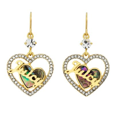 Bijoux Femme Juicy Couture Mother Of Pearl Heart Hoop Boucles d'oreilles WJW864-710-U