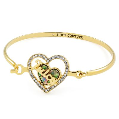 Juicy Couture Dam Mother Of Pearl Heart Bangle Guldpläterad WJW866-710-U