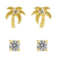 Ladies Juicy Couture Gold Plated Palm Tree Stud Earrings Set WJW880-710-U