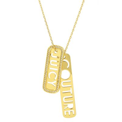 Damen Juicy Couture Juicy Tags Halskette vergoldet WJW917-710-U