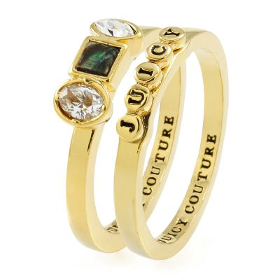 Juicy Couture Dam Semi-Precious Juicy Ring Set Guldpläterad WJW924-710-7