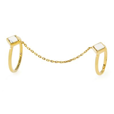 Juicy Couture Dam White Turquoise Double Chain Rings Guldpläterad WJW933-710-6
